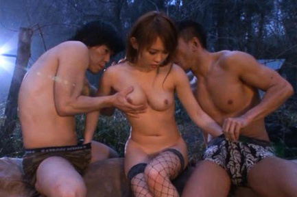 Yuu Konishi Asian in stockings is fucked by men in the forest