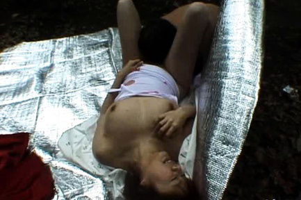 Miyuki Hashida Asian has boobs licked and sucked in the forest