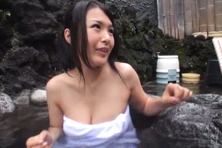 Japanese av model. Japanese AV Model with huge cans in towel shares water with dudes