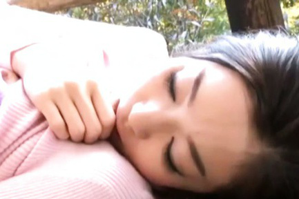 Ryu. Ryu Asian doll has hairy twat licked by other fellow on bridge