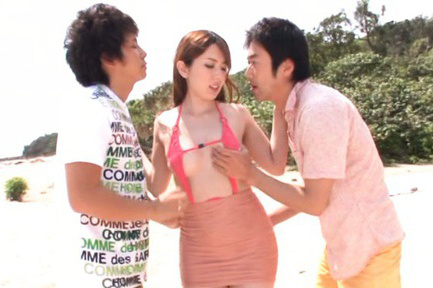 Yui hatano. Yui Hatano Asian in tight skirt is touched on breasts on beach