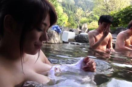 Japanese av model. Japanese AV Model tries to cover her voluminous cans in the public bath