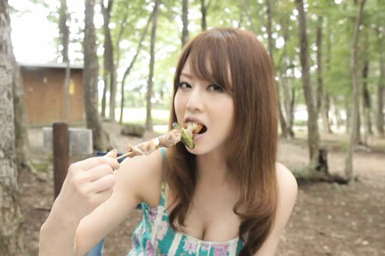 Akiho yoshizawa. Akiho Yoshizawa Asian enjoys food and shows cleavage in the woods
