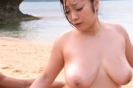 Minako komukai. Minako Komukai Asian with heavy oiled booty is fingered on the beach