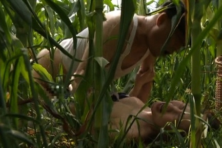 Japanese av model. Japanese AV Model is undressed and make love in the corn field