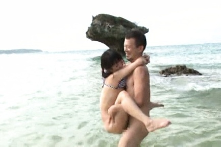 Tsubomi. Tsubomi Asian with hot anal is have sexual intercourse from behind at ocean shore